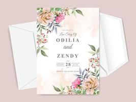 beautiful and elegant floral hand drawn wedding invitation card vector