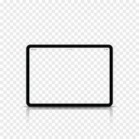 Modern realistic black tablet computer with blank screen. Vector illustration.