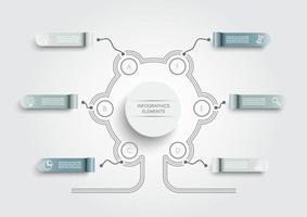 plantilla de infografía vectorial con etiqueta de papel 3d, círculos integrados. concepto de negocio con 6 opciones. para contenido, diagrama, diagrama de flujo, pasos, partes, infografías de línea de tiempo, flujo de trabajo, gráfico. vector