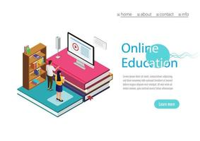 Online training, workshops and courses visualization flat 3d web isometric concept vector landing page template. Online Education with computer. Vector Illustration.