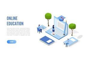 Banner de concepto de educación en línea con personajes. Puede utilizar para banner web, infografías, imágenes de héroes. ilustración vectorial isométrica plana aislada sobre fondo blanco.