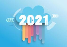 Infographic concept 2021 year. Hot trends, prospects in cloud computing services and technologies, big data storage, communication. Vector illustration.