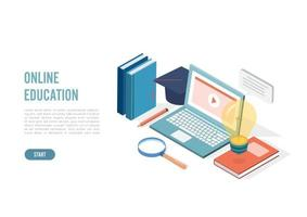 Isometric online education, e learning and adult courses concept. Language distance school. Modern 3d vector illustration for web site, banner design, video tutorial, landing page template