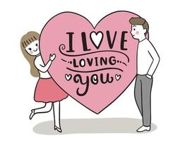 Hand draw cartoon cute Valentine day, Couple and big hearts vector.