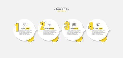 elemento infográfico con iconos y 4 opciones o pasos. vector