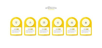 Infographic element with icons and 6 options or steps. vector
