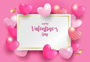 Happy Valentine day background. Design with pink, gold heart  and gold foil confetti on pink background. Vector. vector