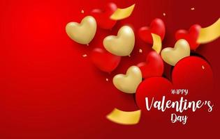 Happy Valentine day background. Design with red, gold heart balloons and gold foil confetti on red background. Vector. vector