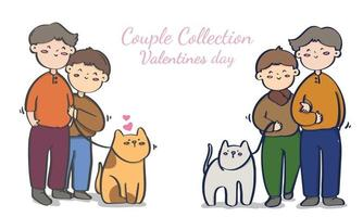Valentine's day homosexual couple illustrations collection vector