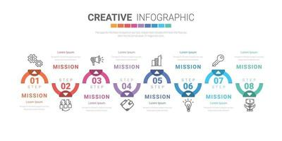 Infographic design template with numbers 8 option for presentation