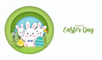 Easter day background and banner with cute rabbits and easter eggs. vector