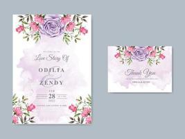 elegante plantilla de invitación de boda con hermoso diseño floral vector