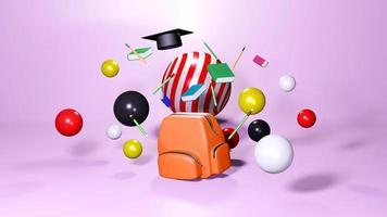 Representación 3D de útiles escolares