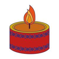 Decorative candle aromatherapy symbol isolated blue lines vector