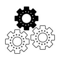 Símbolo de piezas de maquinaria de engranajes aislado en blanco y negro vector