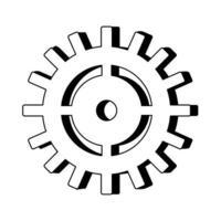 Símbolo de maquinaria de engranajes dibujos animados aislados en blanco y negro vector