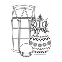 Indian tabla drums with lotus flower in black and white vector