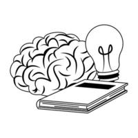 Human brain intelligence and creativity cartoons in black and white vector
