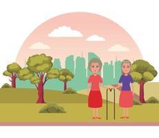 elderly people avatar cartoon character vector
