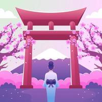 A Girl Under the Fallen Cherry Blossoms vector