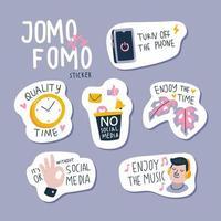 Jomo vs Lomo Sticker Set vector