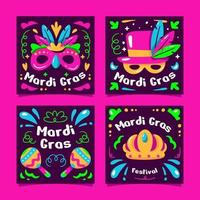Mardi Gras Card with Purple Color vector
