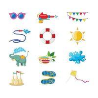 Songkran Icon Set Festival vector