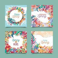 Colorful Spring Greeting Card Templates vector