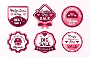 Happy Valentine's Day Label Collection vector