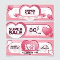 promoción del día de san valentín colección de banners de venta vector