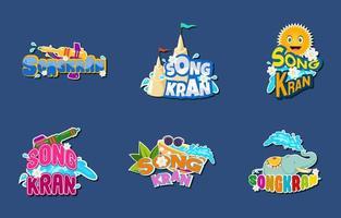 Songkran Sticker Collection Set vector