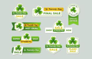 Clover Theme St. Patrick's Day Sale Label vector