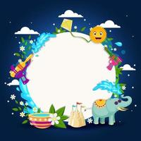 Beauty Songkran with Circle White Background vector