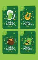 Green Leprechaun Card with Icons vector