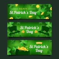 Realistic St. Patrick's Day Shamrock Clover Banner Collection vector