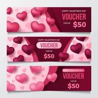 Valentine's Day Voucher Template vector