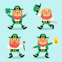 Happy Leprechaun Character Set vector
