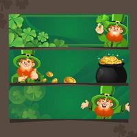 Green Happiness with Leprechaun and Shamrock Banner vector