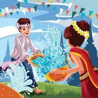 Songkran Water Splashing Festival Concept vector