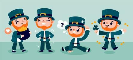 ST. Patrick's Day Leprechaun Character in Different Activity vector