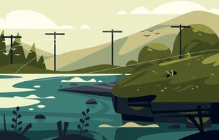 A Beautiful Flat Landscape Vector Background