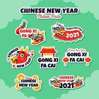 Chinese New Year Sticker Pack vector