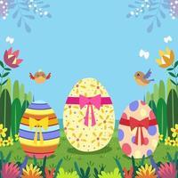 Easter Eggs in The Garden vector
