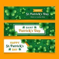 Green Clover Patrick's Day Banner vector