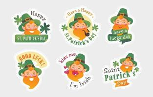 Happy Leprechaun Character Sticker vector