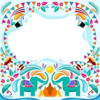 Happy Songkran Water Festival Background Template vector