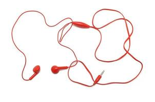 Red earphones on white background