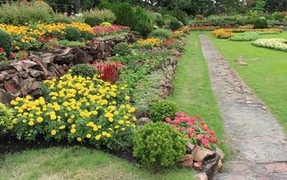 Side view of flowerbeds