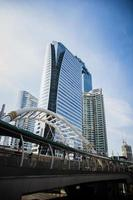 Image of skyscrapers with the bridge and sky photo