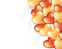 Banner with red and gold heart shaped balloons vector